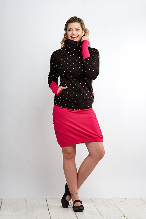 Hoodie Warm Zipper Black/White Big Dots and Magenta