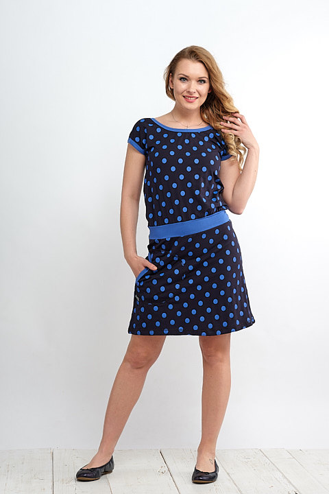 Dress Bell Dark Blue and Blue Royal Dots