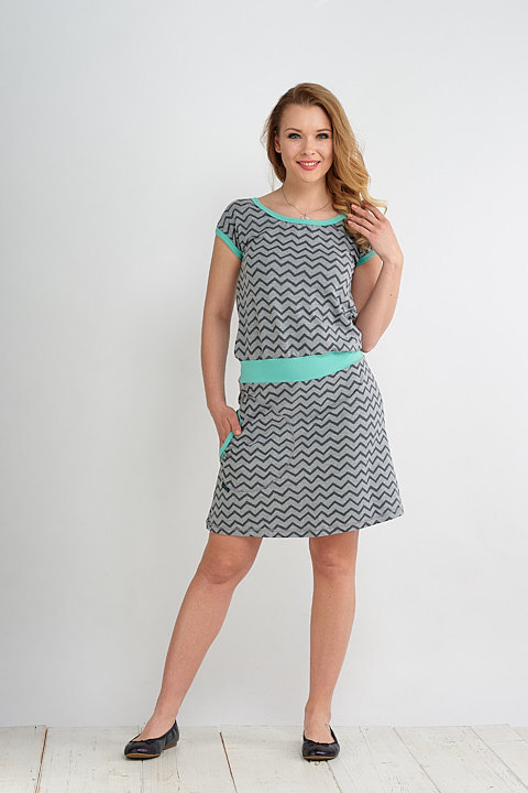 Dress Bell Gray Cik Cak and Mint