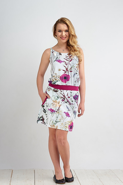 Dress Hawaii Bell Wildflowers and Fuchsia