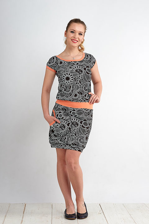 Dress Bali Black/White Cactus and Peach