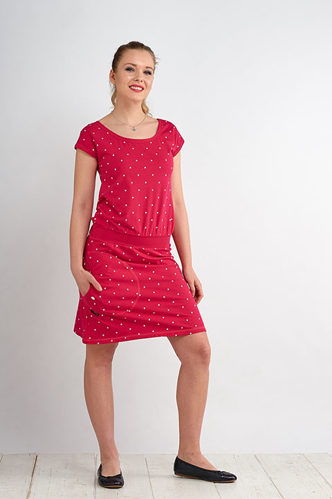 Dress Bell Magenta/White Big Dots-SLEVA