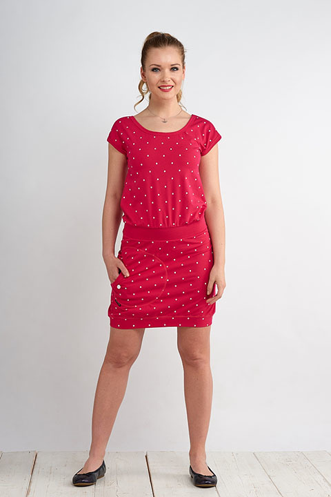 Dress Bali Magenta/White Big Dots