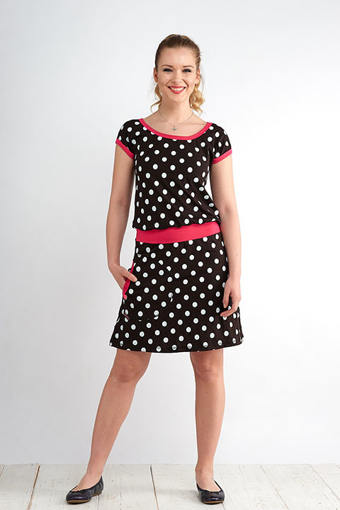 Dress Bell Black/White Dots and Pink-SLEVA