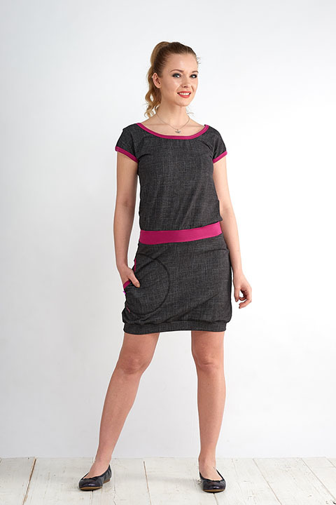 Dress Bali Black Jeans and Fuchsia