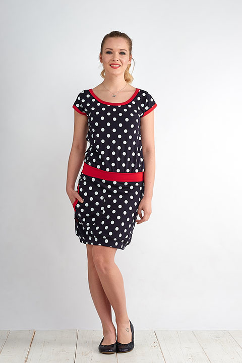 Dress Bali Blue/White Dots and Red