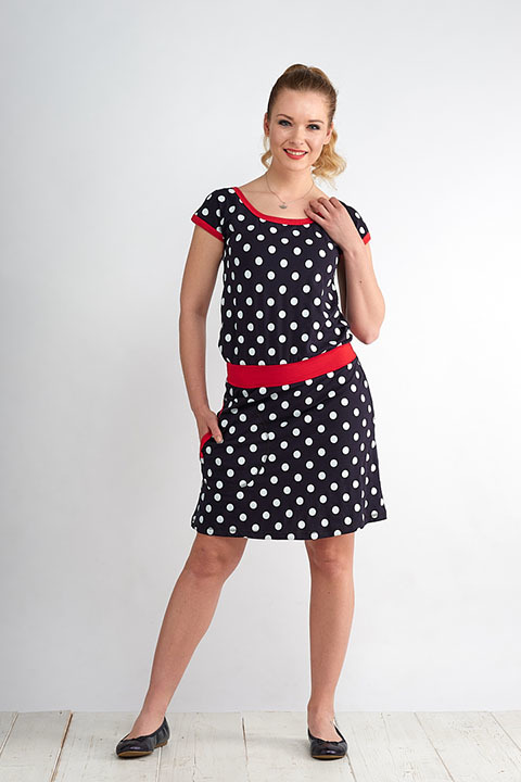 Dress Bell Blue/White Dots and Red