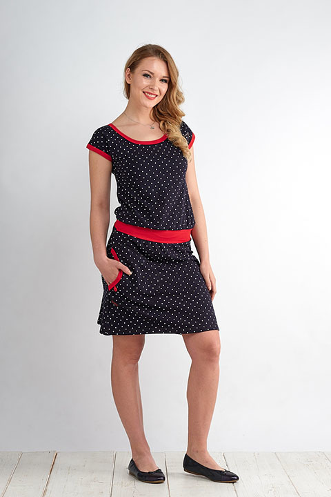 Dress Bell Blue/White Mini Dots and Red-SLEVA