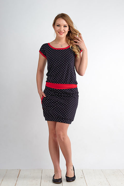 Dress Bali Blue/White Mini Dots and Red