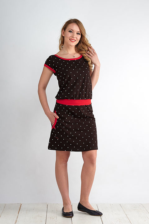 Dress Bell Black/White Big Dots and Red-SLEVA