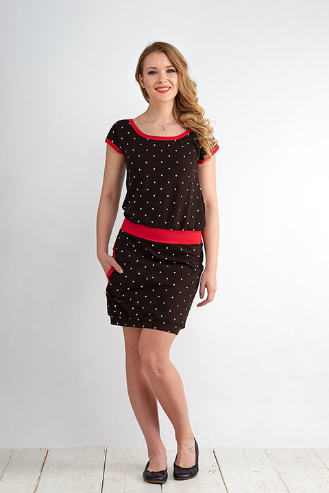Dress Bali Black/White Big Dots and Red