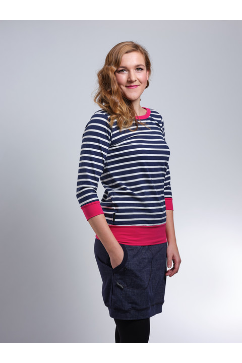 T-shirt 3/4 Sleeve Blue/White Stripes and Pink