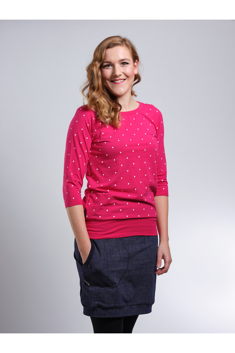 Tucked 3/4 Sleeve Magenta/White Big Dots