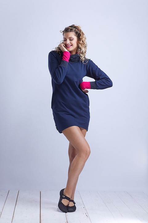 Hoodie Long Dark Blue and Dots/ Pink