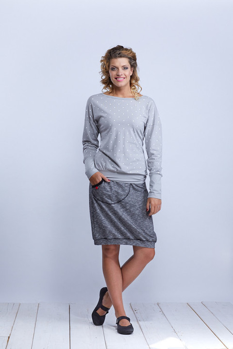 Shirt or Sweatshirt Silver GrayWhite Big Dots