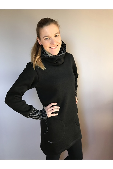 Tunic Warm Black and Stripes