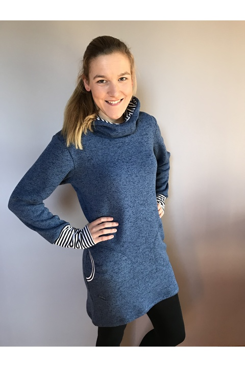 Sweater Long Warm Jeans Blue and Stripes