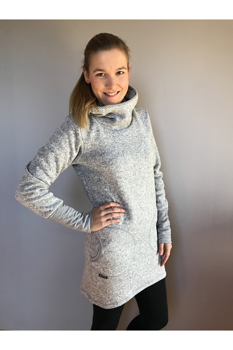 Tunic Warm Dove Grey and Stripes