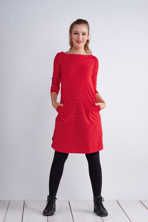 Dress Madeira Red/White Mini Dots