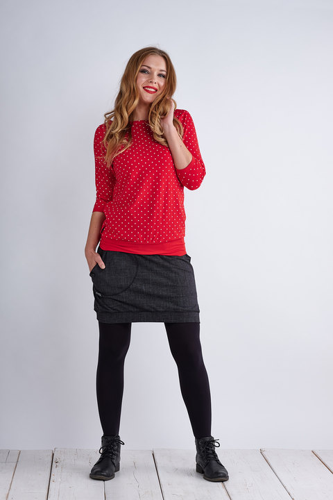 Boat 3/4 Sleeve Red/White Mini Dots