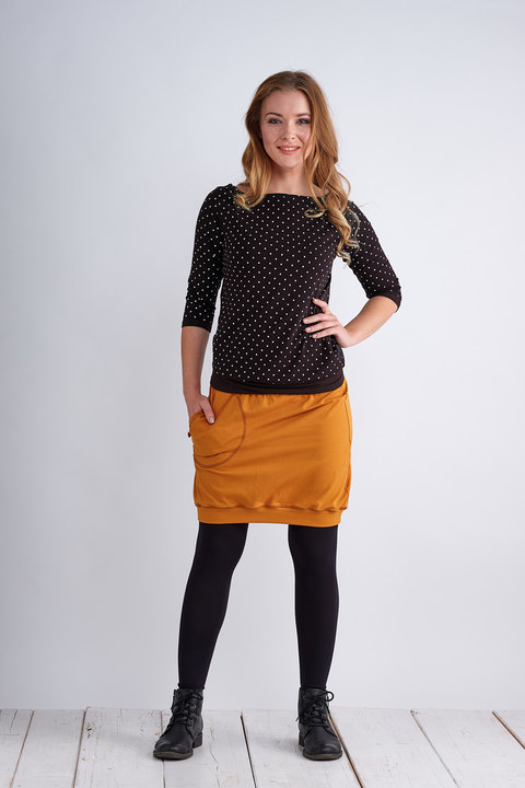T-shirt 3/4 Sleeve Black/White Mini Dots