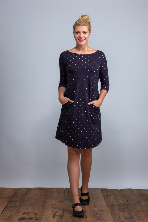 Dress Madeira Dark Blue/white Big Dots