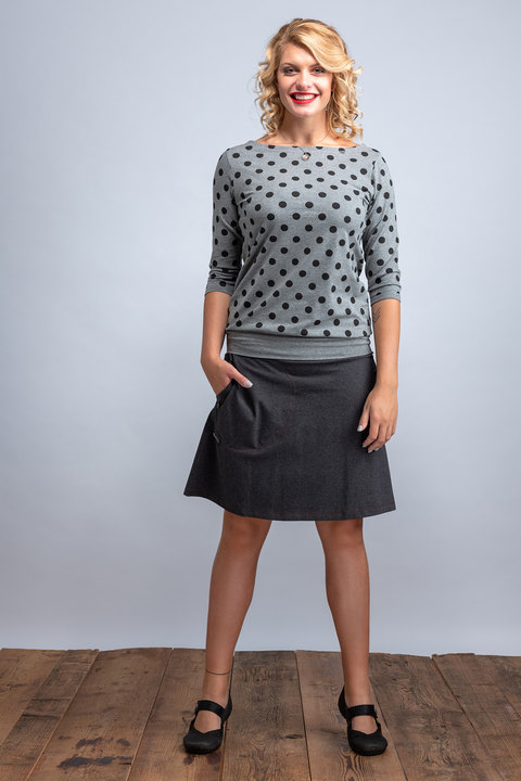 Boat 3/4 Sleeve Gray/Black Dots