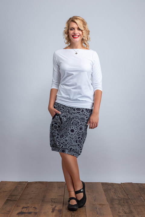 Skirt Long Dark Blue/White Cactus