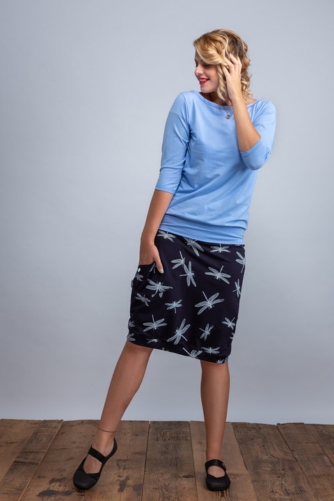 Skirt Long Dark Blue/White Dragonfly