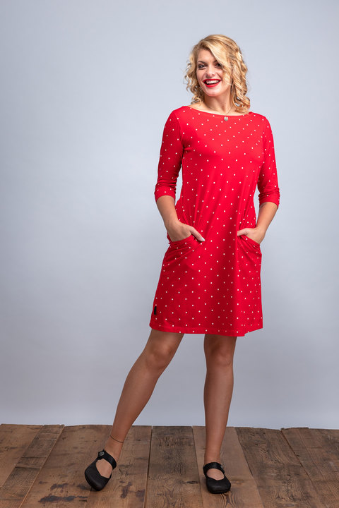 Dress Madeira Red/White Big Dots