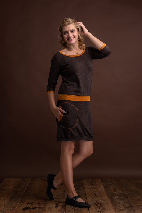 Dress Sleeve Chocolate Structure/Saffron Yellow