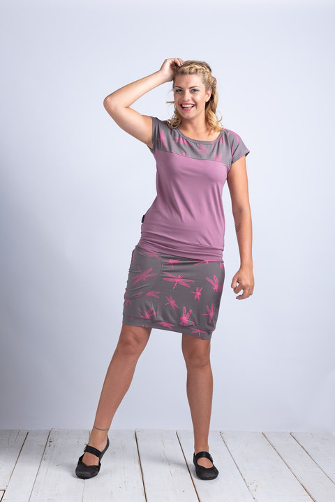 Skirt Gray/Pink Dragonfly