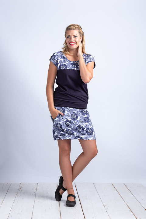 Skirt White/Blue Poppies-SLEVA