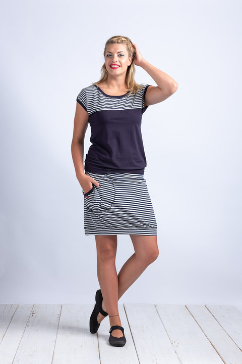 Skirt Blue/Bone Melange/Blue Stripes