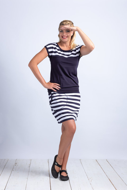 Skirt Blue/White Big Stripes