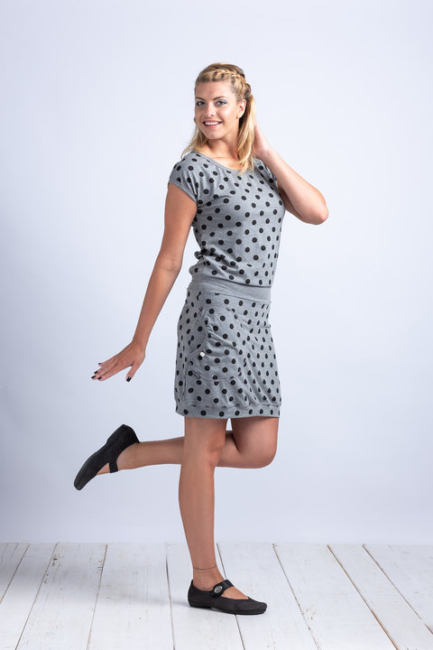 Dress Gray/Black Dots ( šaty 3/4 rukáv)