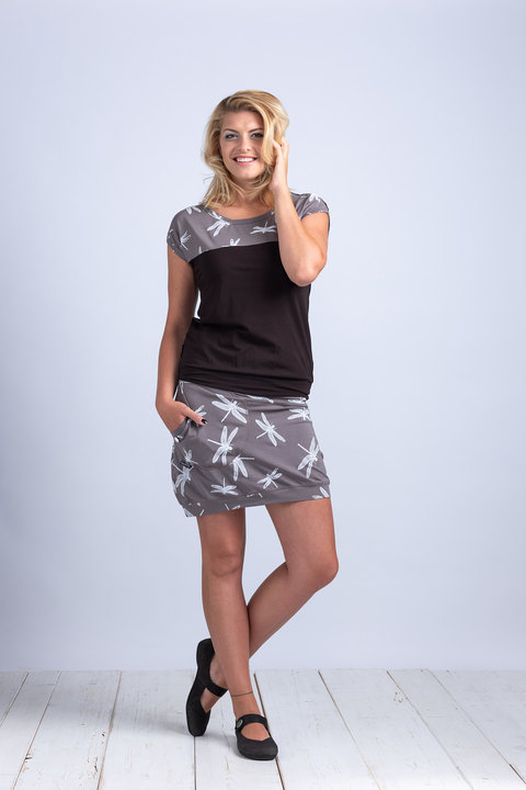Skirt Carri Gray/White Dragonfly
