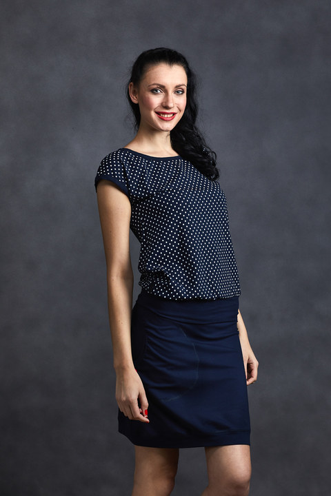 Tucked Dark Blue/White Mini Dots