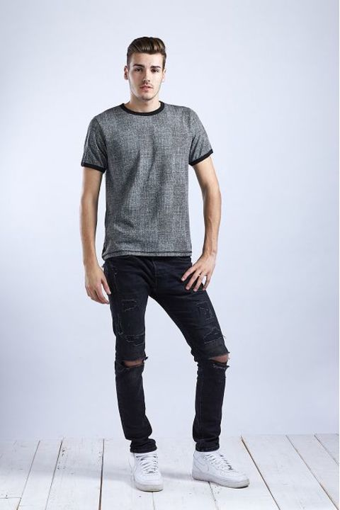 Men's T-Shirt Gray/Black Structure