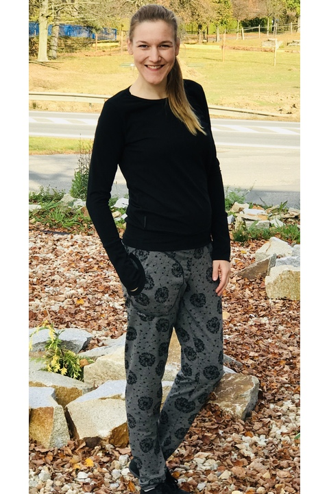 Pants Warm Gray/Black Dandelions Fluff