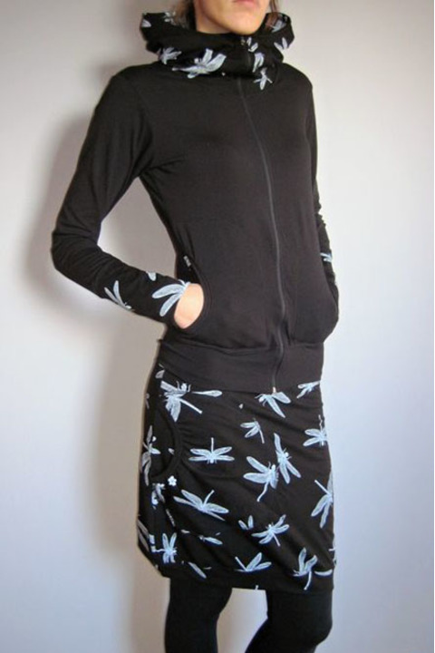 Hoodie Warm Zipper Black and Black Dragonfly