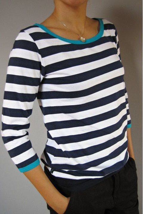 Tucked Sleeve Blue/White Stripes and Turquoise