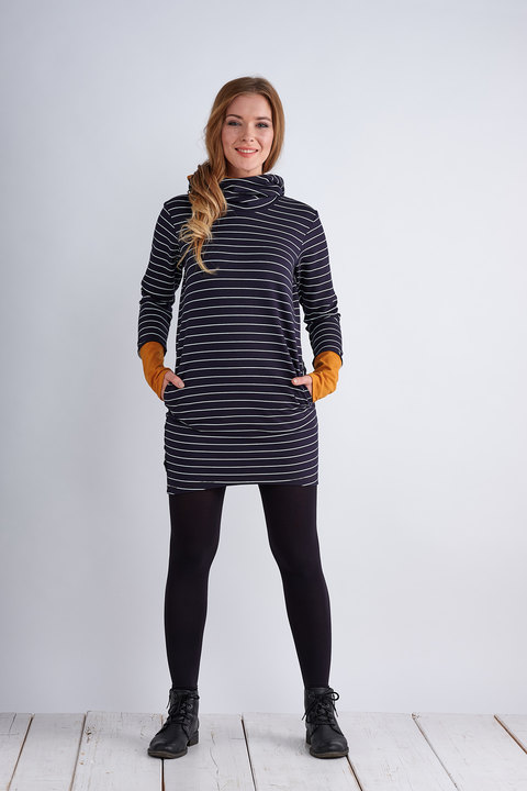 Tunic Dark Blue/White Stripes and Saffron Yellow