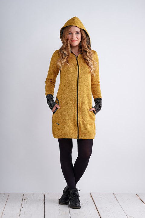 Coat Mustard and Black/White Thin Stripes