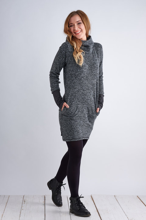 Sweater Long Warm Gray Melange/Grapphite Melange