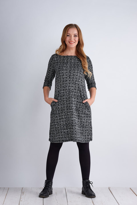 Dress Madeira Warm Gray/Black Pattern