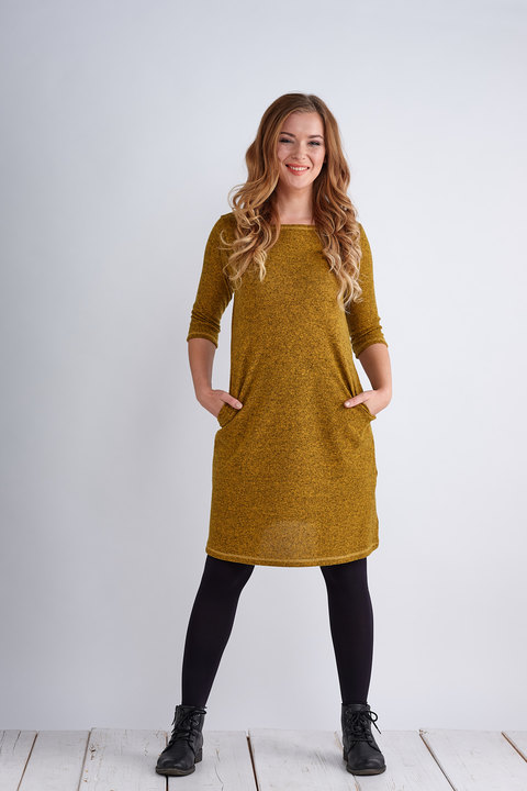 Dress Madeira Warm Mustard Melange-SLEVA