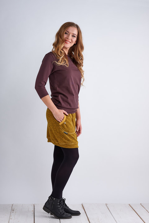 Tucked 3/4 Sleeve Brown