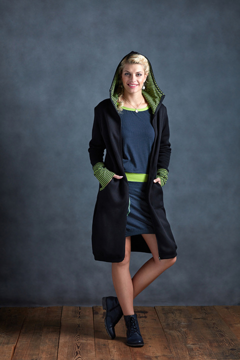 Coat Black and Green Stripes