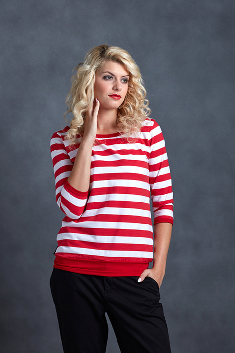 T-shirt 3/4 Sleeve Red/White Big Stripes